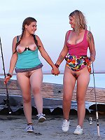 Outdoor passion with two hairy lesbian girls in heats